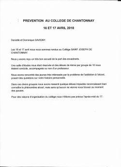 prevention collège de Chantonnay 16 et 17 avril 2018