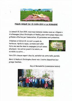 Cpte rendu Pique-Nique La Romagne 15.06.2019